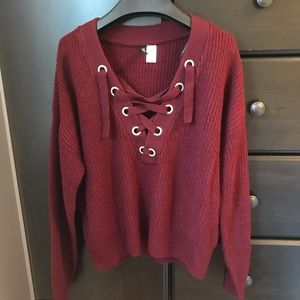 H&M Burgundy Lace Up Sweater